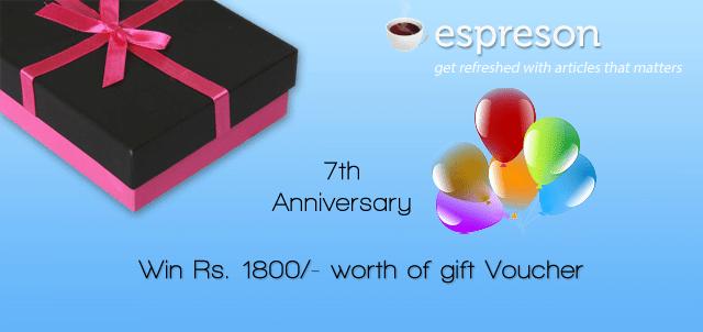 Win Gift voucher worth Rs 1800 on Espreson 7th Anniversary