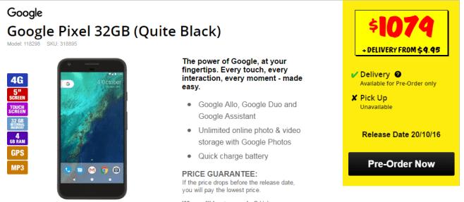 JB Hi-FI Australia Price of Google Pixel