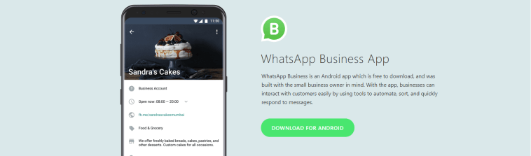 WhatsApp Business is an Android app