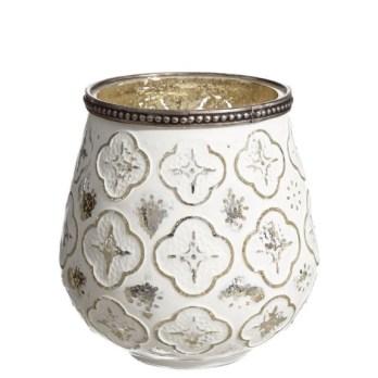 Bougeoir blanc motif design