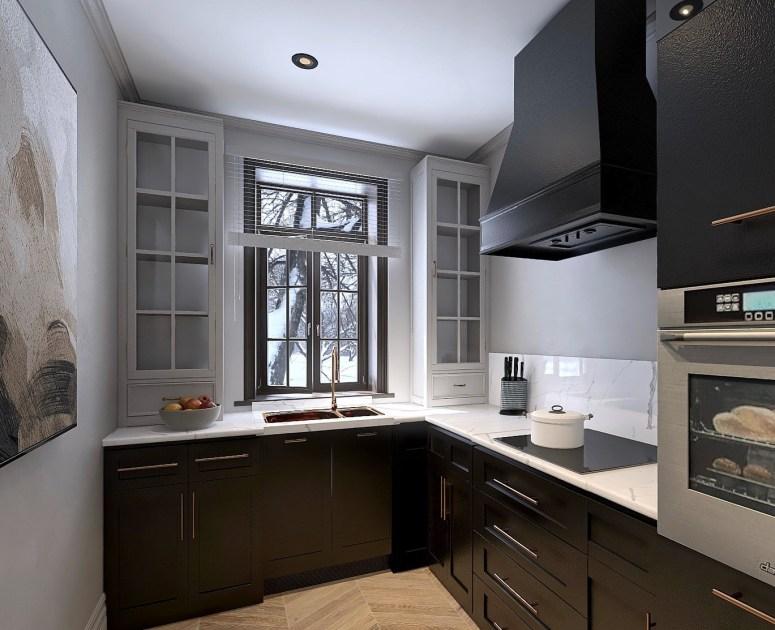 Rénovation cuisine noir mat et grège