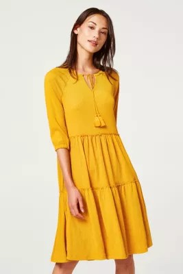 Esprit  CrinkleKleid mit ausgestelltem Volantrock im