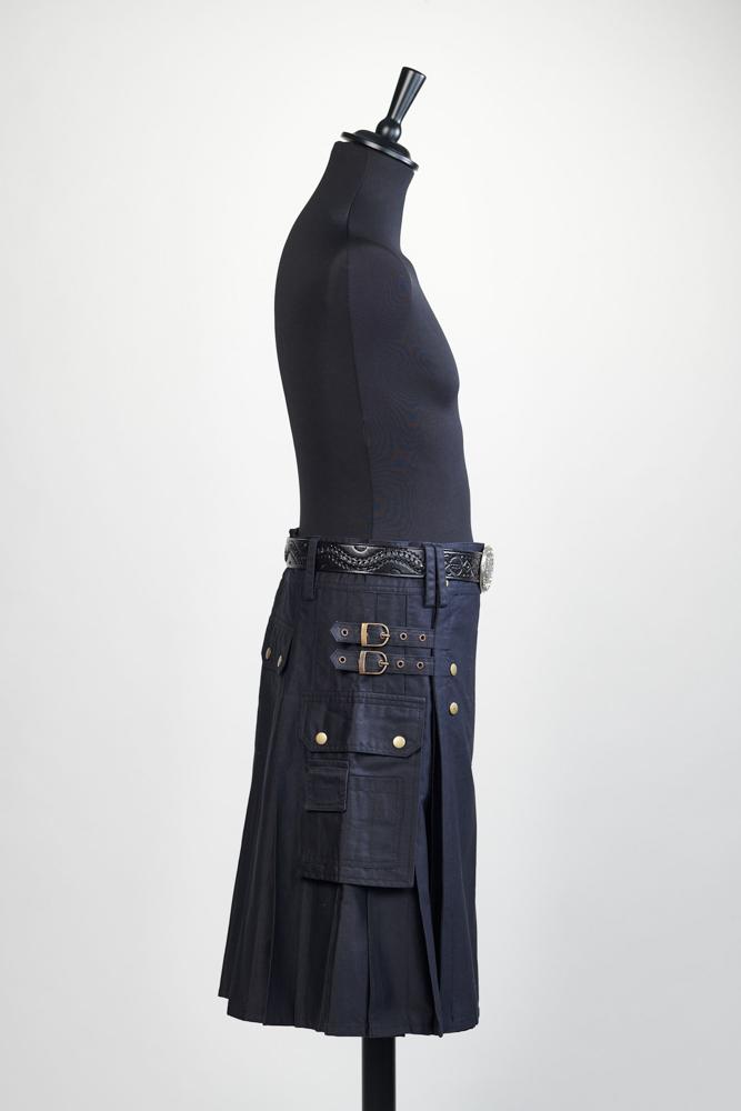 Kilt noir en coton vendu sans la ceinture