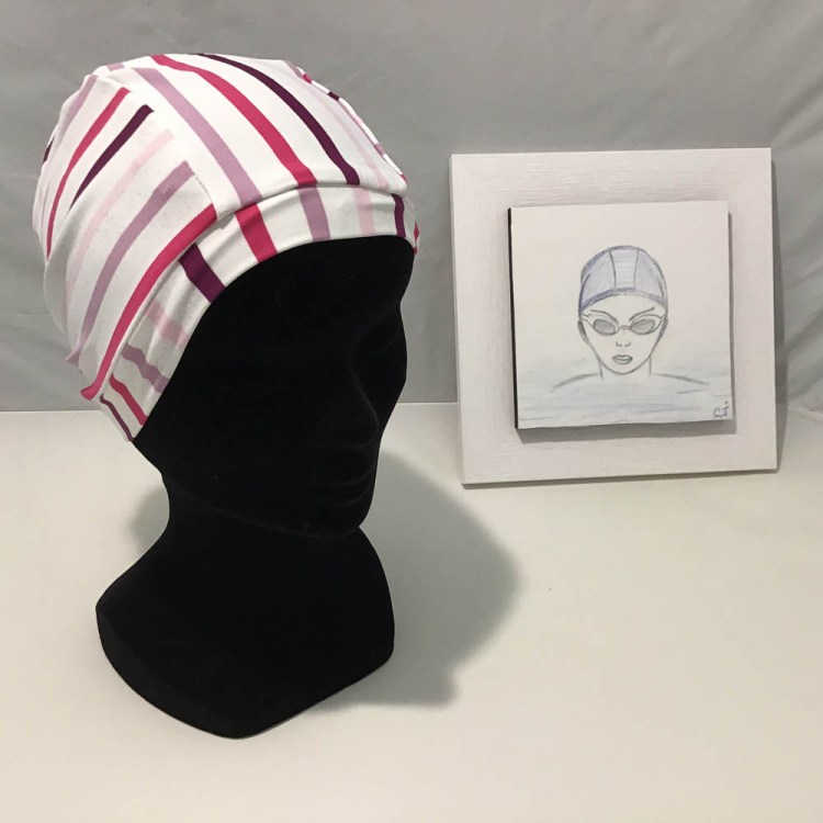 bonnet de bain rayure rose