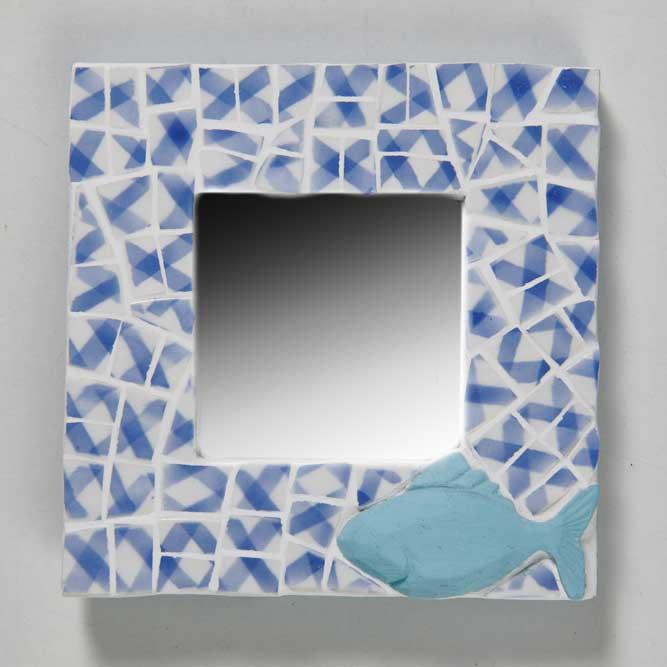Miroir au poisson bleu à poser