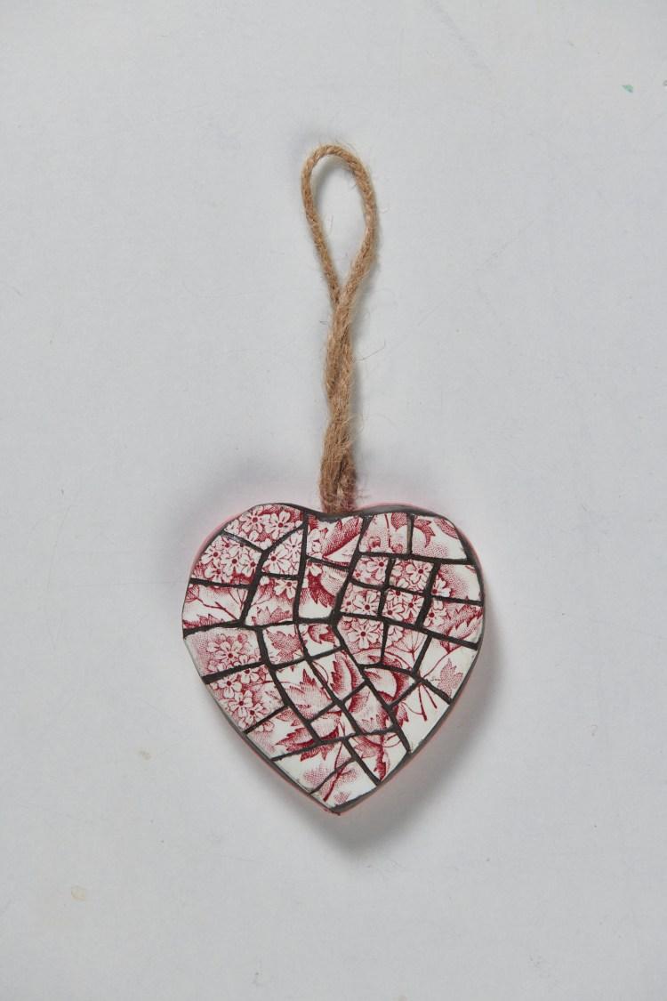 Coeur mosaïque rose