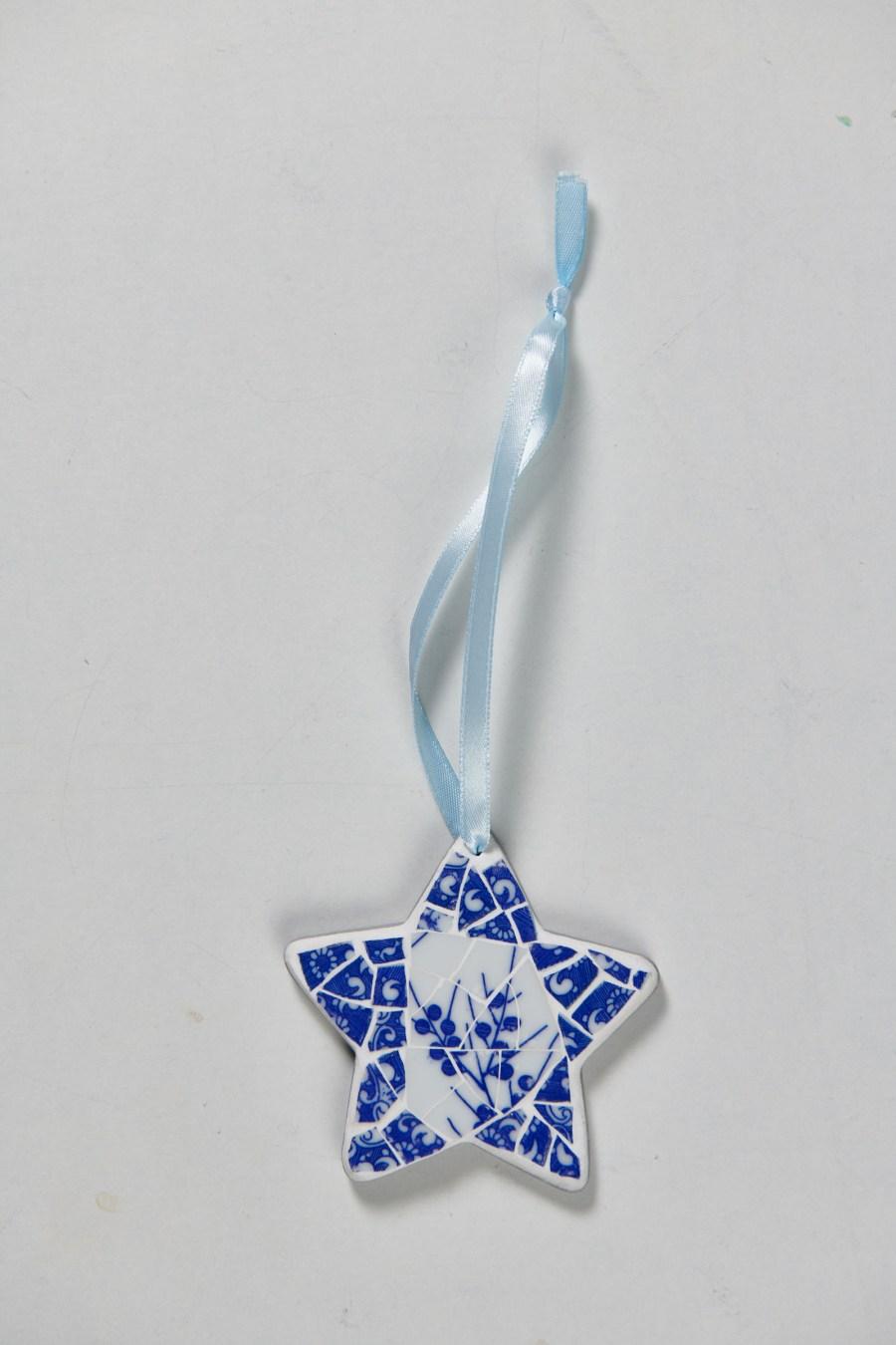 Muriel Bigot MB Mosaïques Etoile mosaïque bleu et blanc