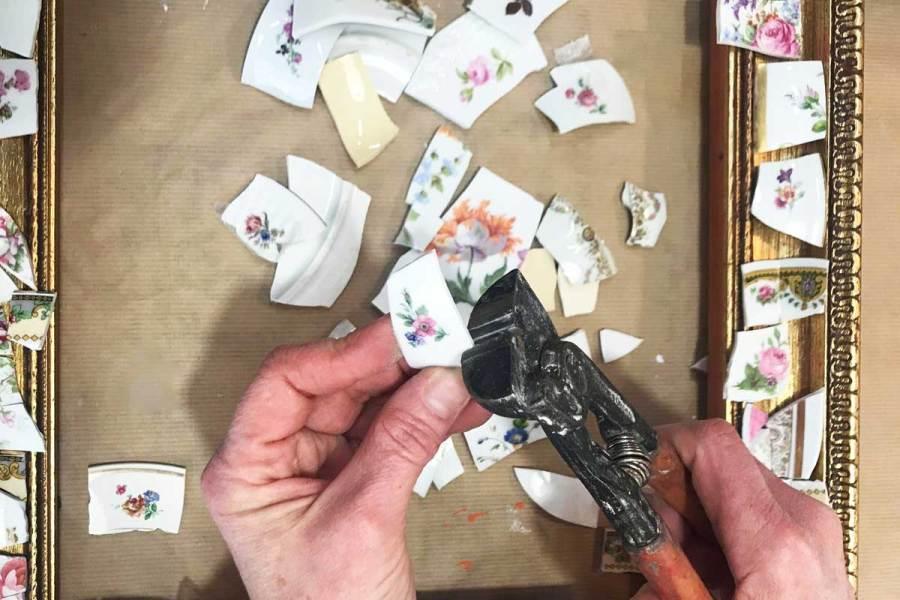 prépartion des morceaux de céramique