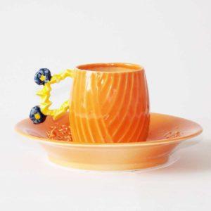Tasse Baroque Palmyre orange et bleu