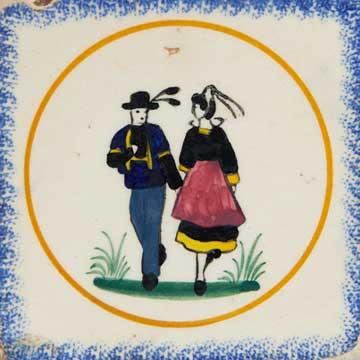Couple de danseur faiencerie Henriot quimper