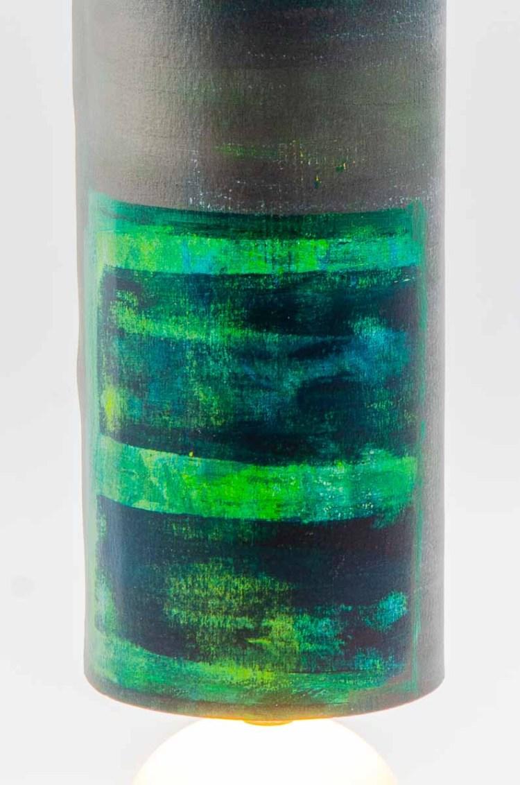 lampe verte détail du dessin peinture acrylique et encre
