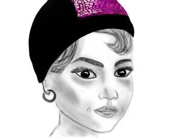 Bonnet de bain noir et mosaique rose brillant présenté sur un dessin au crayon