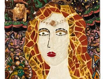Pricesse Dahut tableau en mosaïque coloré
