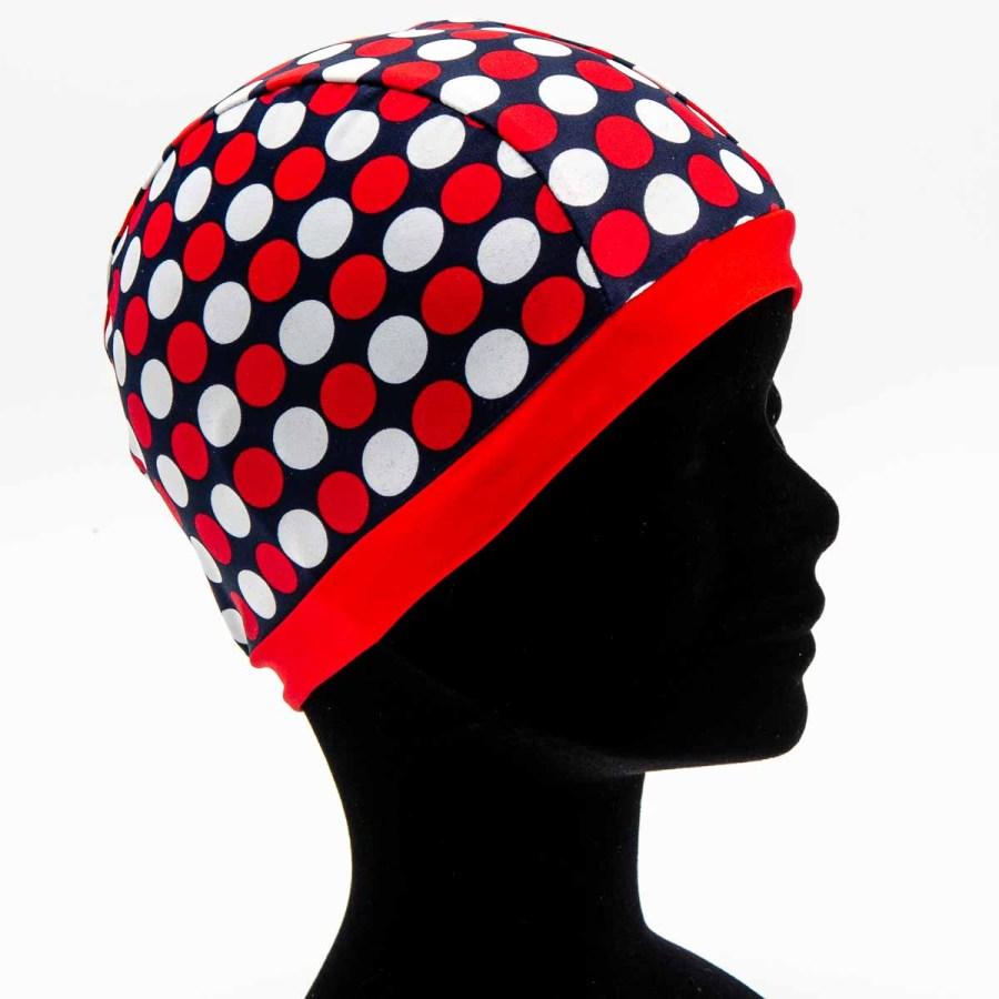 Bonnet de bain à pois couleur dominante rouge/Atelier de Créations/Esprit Celtique