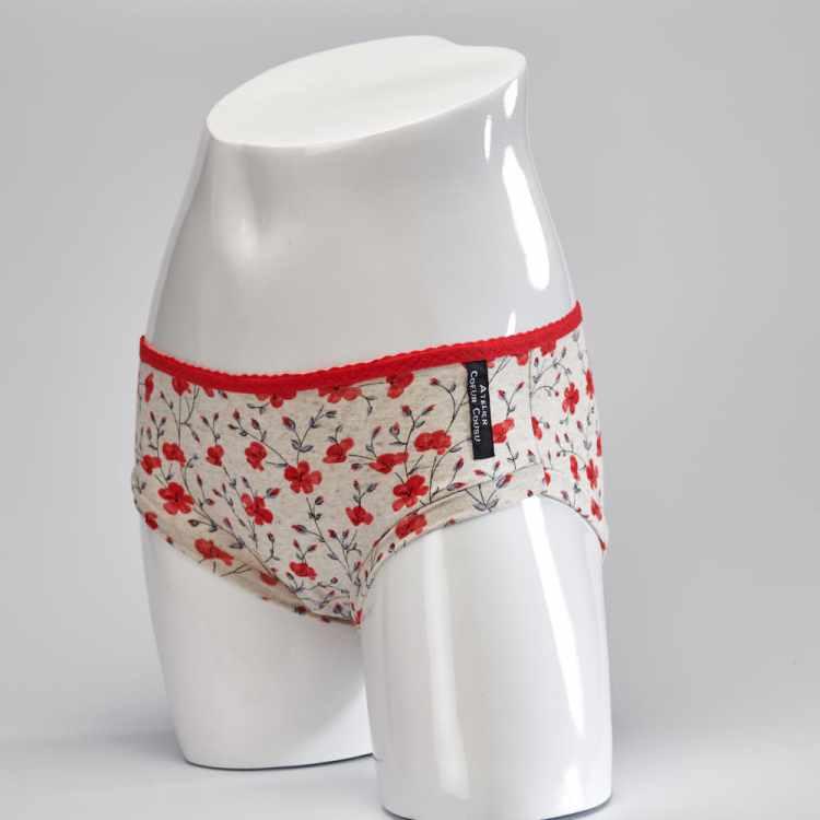 Culotte fleurs rouges