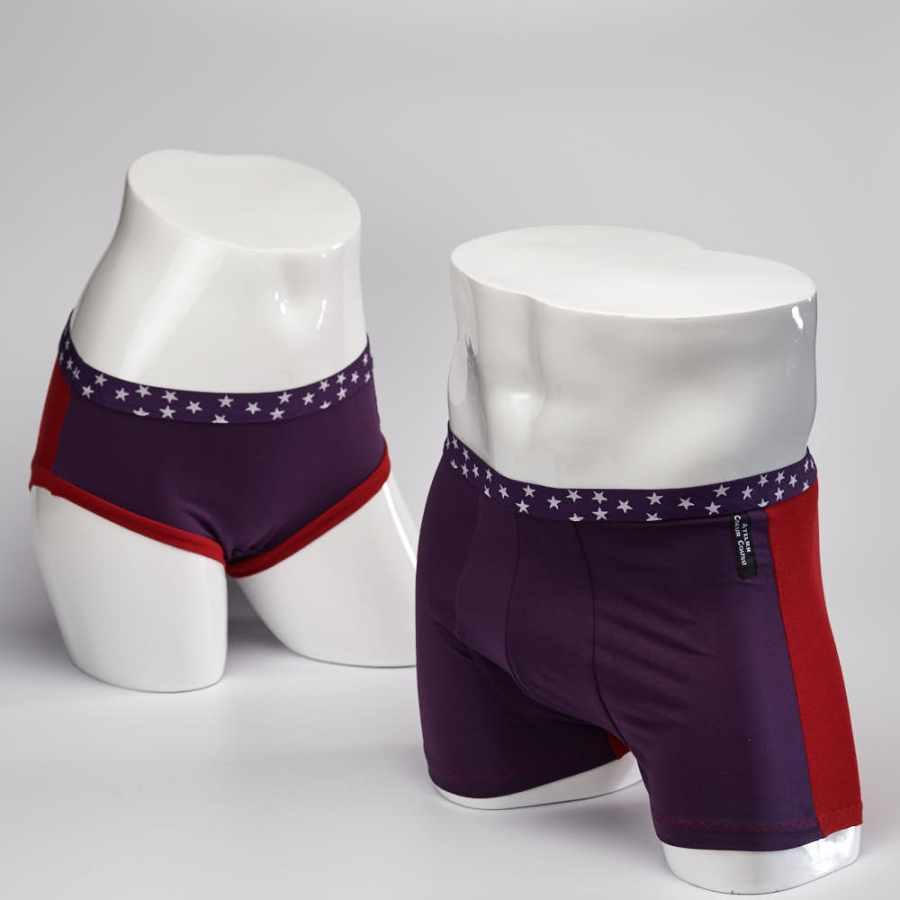 Boxer et culotte cirque rouge et prune