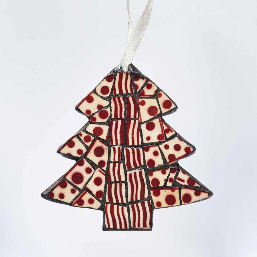 Sapin décoration de Noël pois rouge