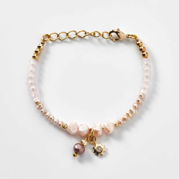 bracelet enfant en perles de cristal rose création l'atelier de sylvie