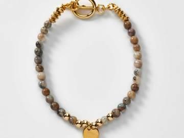 Bracelet en perles agates et acier breloque poisson rond création Sylvie Glémarec
