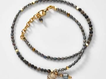 Bracelet double en perles et breloque coquille saint jacques création l'atelier de sylvie