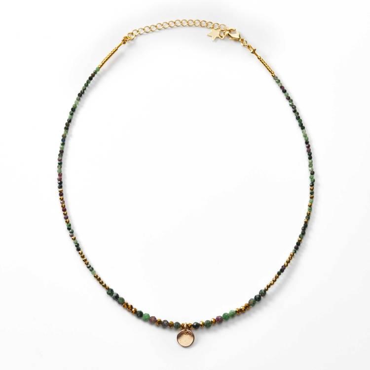 Collier de perles breloque disque plaqué or