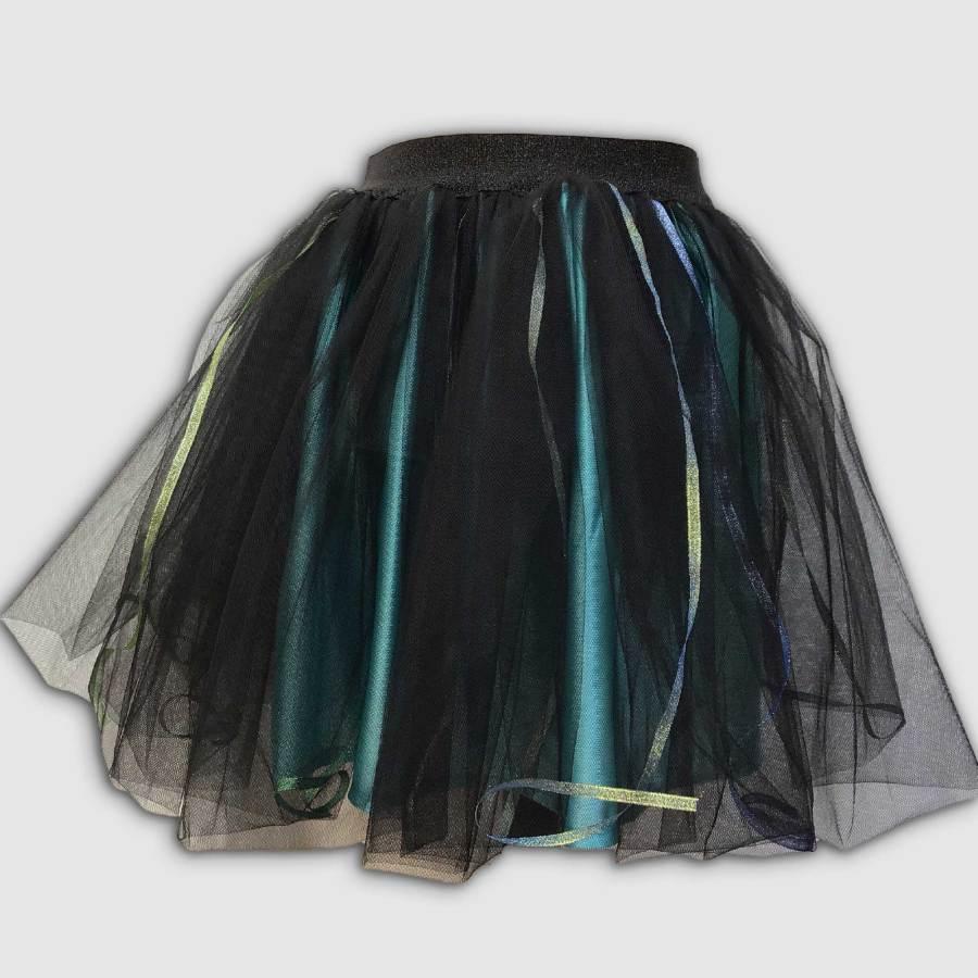 Jupe Lucie en tulle noir et fond turquoise/Atelier de Créations /Esprit Celtique