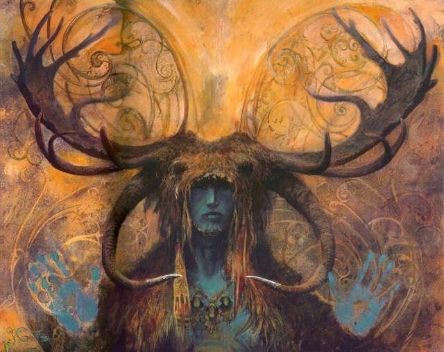 Blue Reindeer Priestess Large