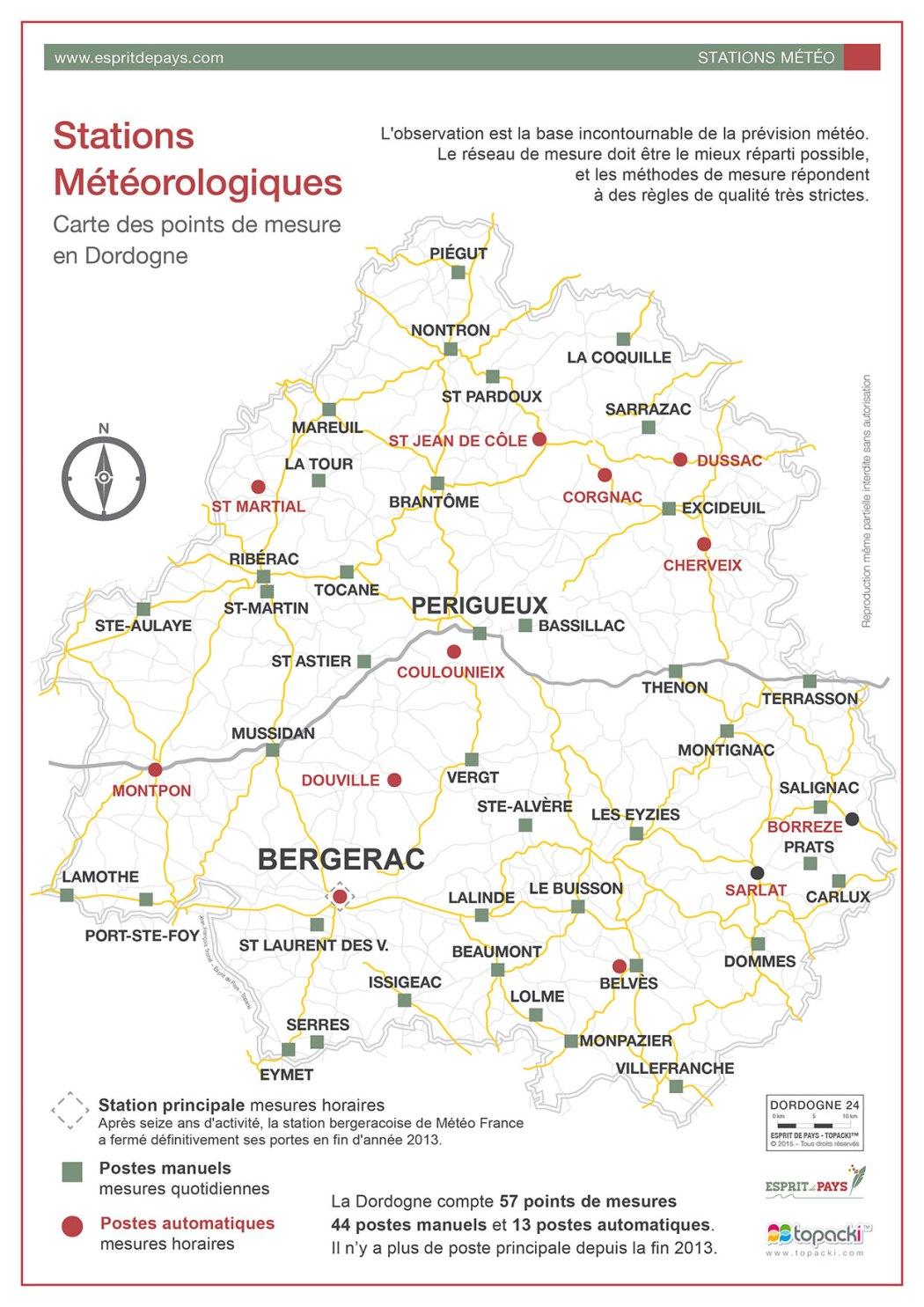 Les stations météorologiques du département de la Dordogne