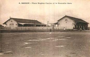 Saïgon : Place Eugène Cuniac et la nouvelle gare.