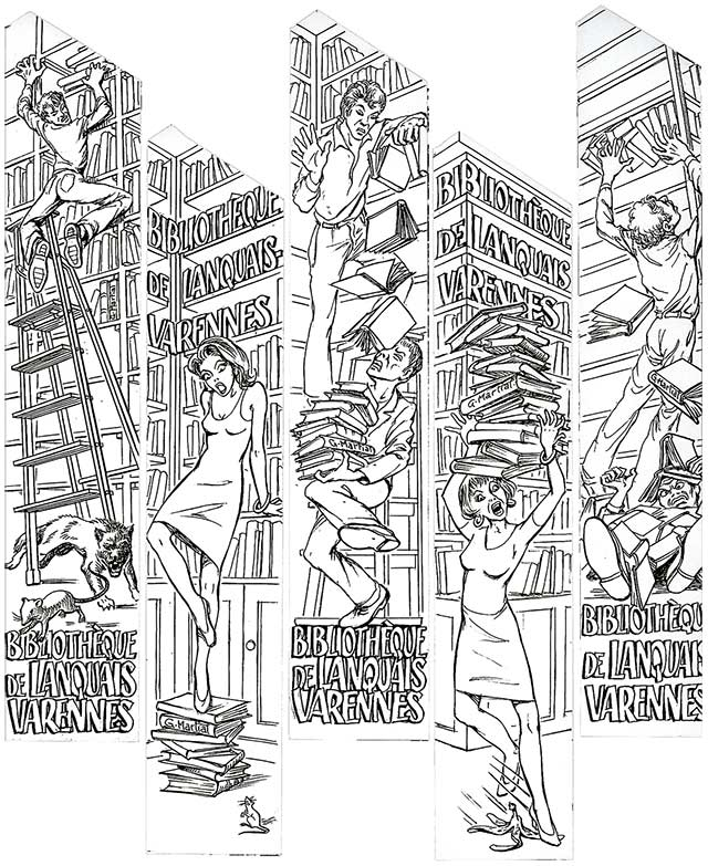 Dessin de Gérard Martial pour la bibliothèque de lanquais-varennes
