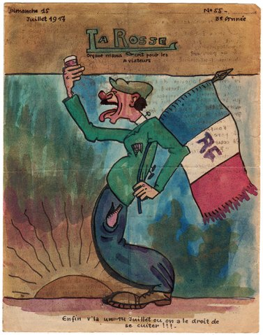 La couverture du numéro 55 de « La Rosse», journal de poilus de la Grande Guerre
