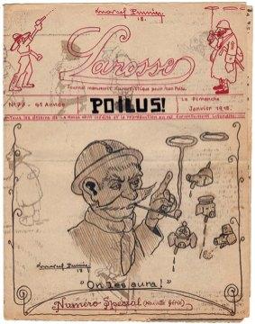 La couverture du numéro 77 de « La Rosse», journal de poilus de la Grande Guerre