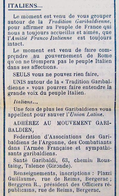 Extrait du journal Vérité du 29 avril 1939