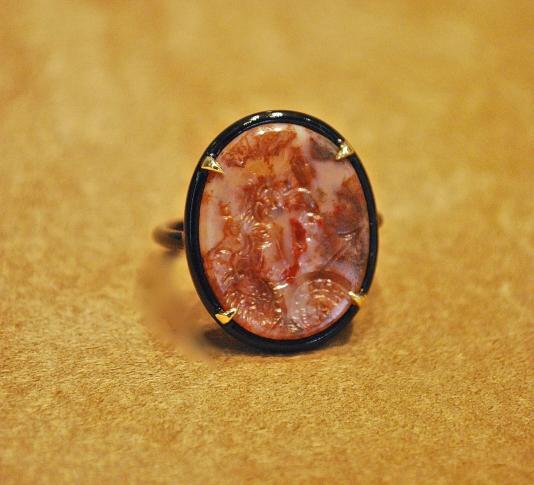 Intaille XVIIIéme siècle Dieu Mars Agate, Or laqué noir