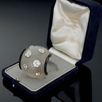Clip Vintage Diamants, Cristal de Roche, Onyx, Platine Suzanne Belperron