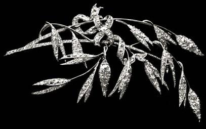 Broche Graminé Platine Diamants 1885