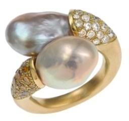 "Bague""Toi & Moi"" Perles, Diamants, Or"