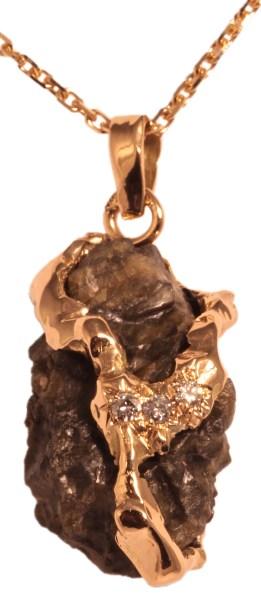 Pendentif or jaune, Météorite Lunaire, Diamants.