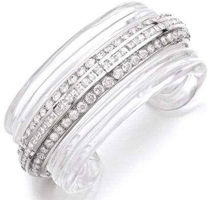René Boivin Bracelet Cristal de Roche, Diamants. Vers 1934