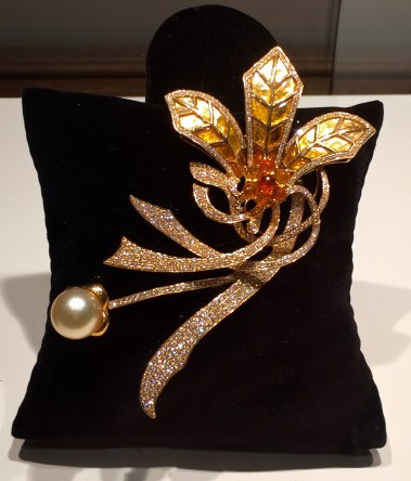 "Broche ""Rêve"" Citrine, Diamants, Perle, Or. © ejcw"