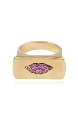 Bague Or et Rubis Pink lips stamp ring