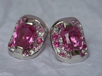 Boucles d'Oreilles Or, Saphirs Roses, Diamants