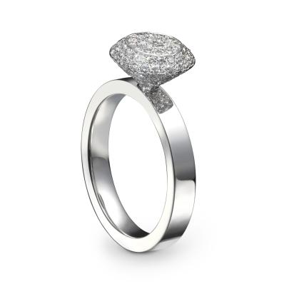 "Bague ""Solal"" Or Blanc, Diamants"