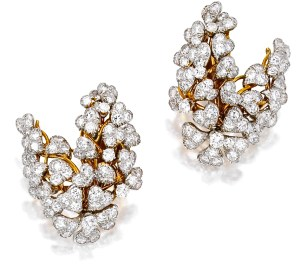 David Webb Boucles d'Oreilles Or et Platine, Diamants