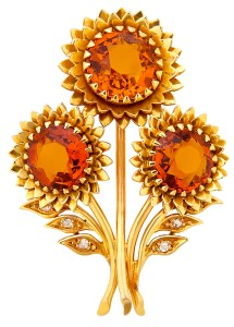 "Broche ""Tournesol"" Citrines, Diamants, Or © Marchak"