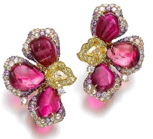 Michele della Valle Boucles d'Oreilles Tourmalines, Diamants, Or