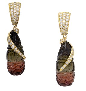 Boucles d'Oreilles Tourmalines, Diamants, Or © Erik Schaix