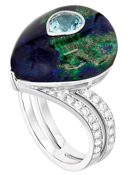 "Bague ""Oiseau de Tonnerre"" Or, Diamants, Aigue-Marine, Azurite, Cristal de Roche"