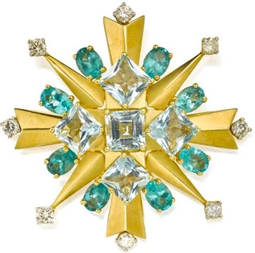 Broche Tony Duquette Aigue-Marine, Apatite, Diamants