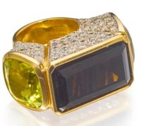 Bague Tony Duquette Quartz Fumé, Citrine, Diamants